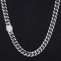 Silver 12mm Miami Cuban Link Chain Iced Clasp