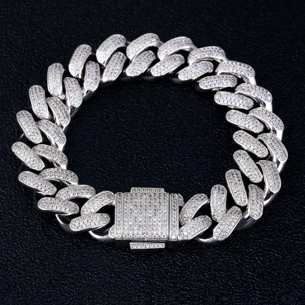 18mm Silver Rows Gems Iced Cuban Bracelet