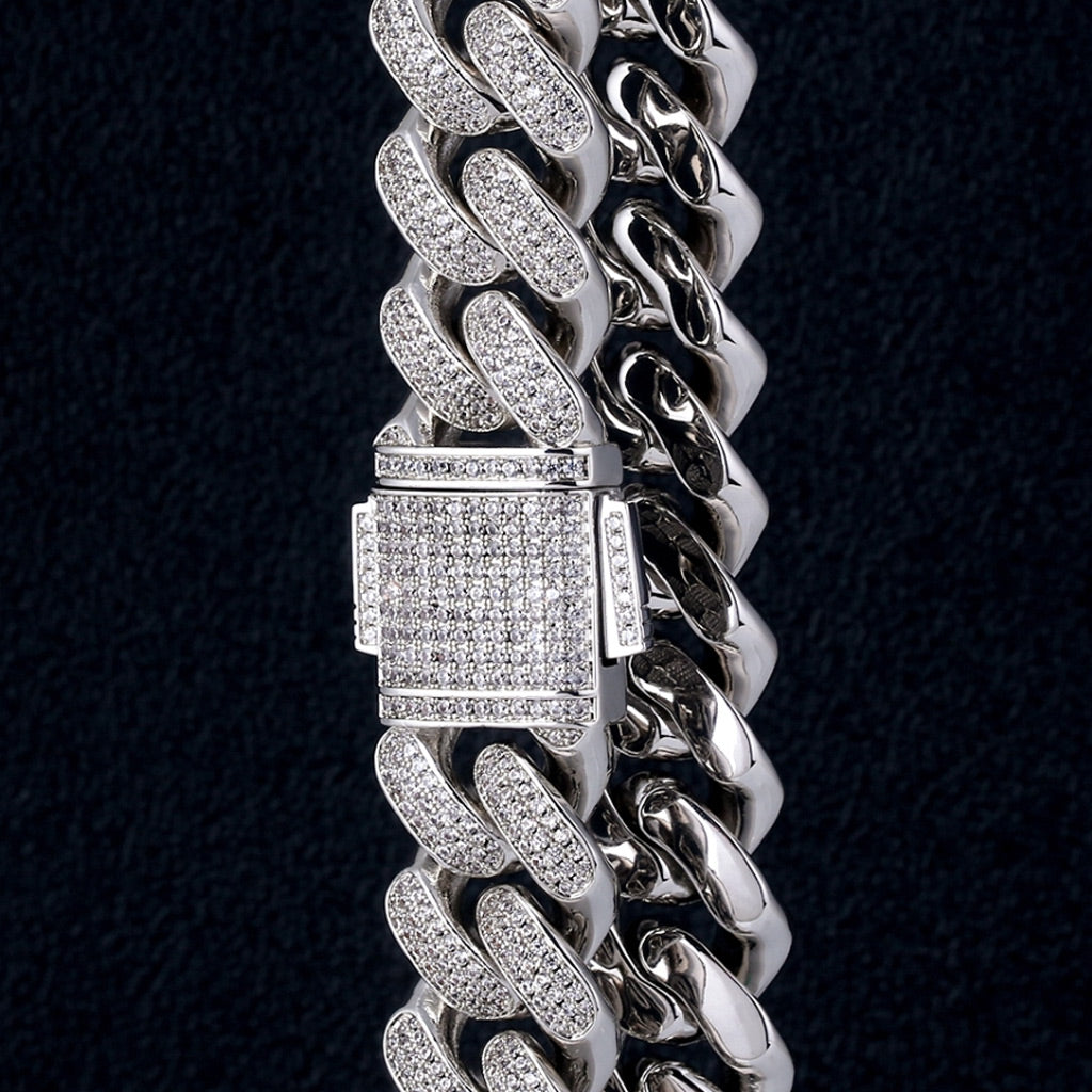18mm 14K Gold Rows Gems Iced Cuban Link Chain