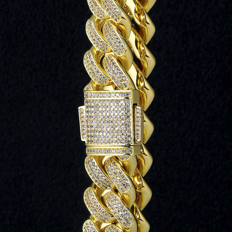 18mm Iced Cuban Chain Three Rows 14K Gold