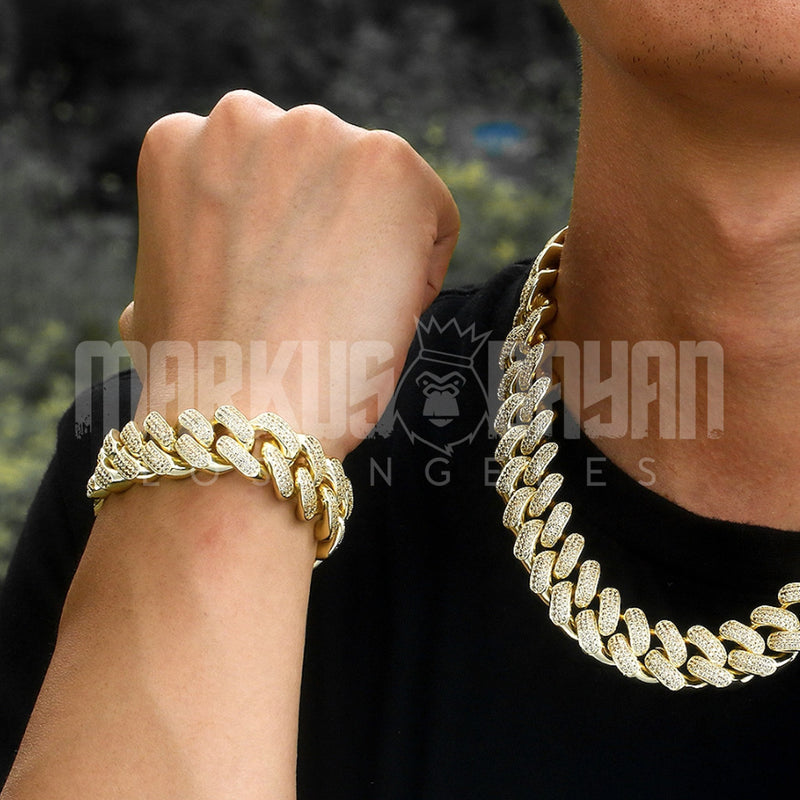18mm 14K Gold Rows Gems Iced Cuban Bracelet