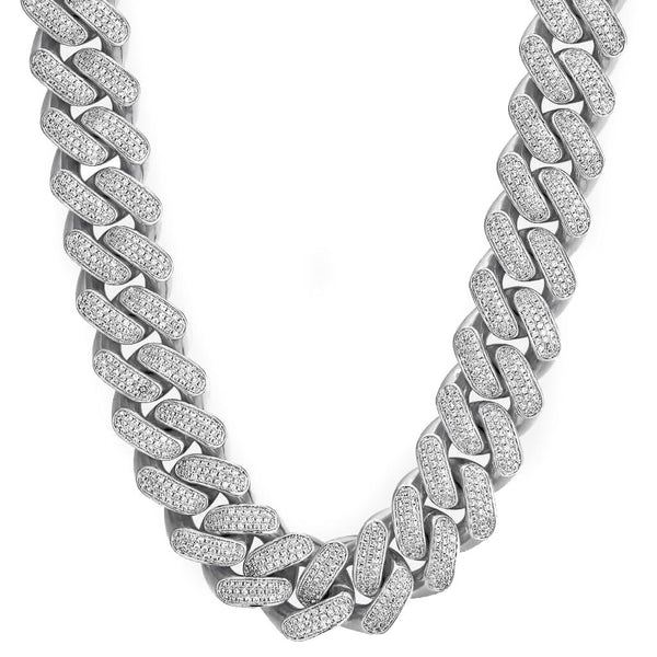 18mm Iced Cuban Chain Three Rows White Gold