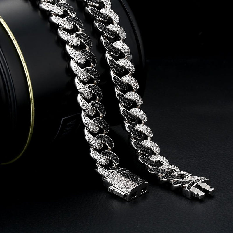 12mm Iced Out Two Tone Mens Cuban Link Choker Chain Black & White