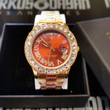 18K Gold Finish Presidencial Diamond Watch Luxury
