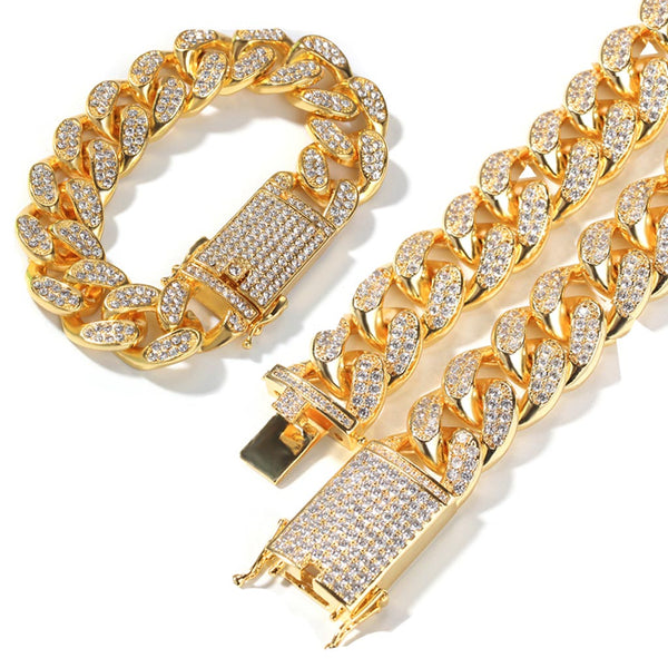 20mm 14K Gold Iced Cuban Premium Bundle Chain&Bracelet