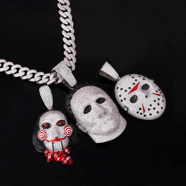 Iced Jason Friday the 13th Mask Pendant 18K Gold Plated
