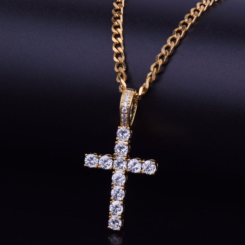 Iced Cross CZ Pendant Necklace 14K Gold Plated