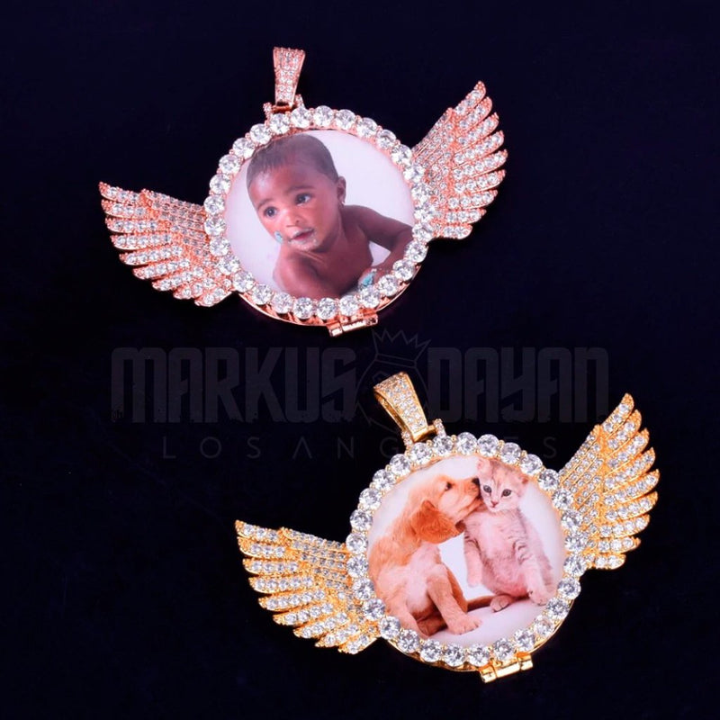 Iced Custom Photo Wings Medallion 14K Gold Plated