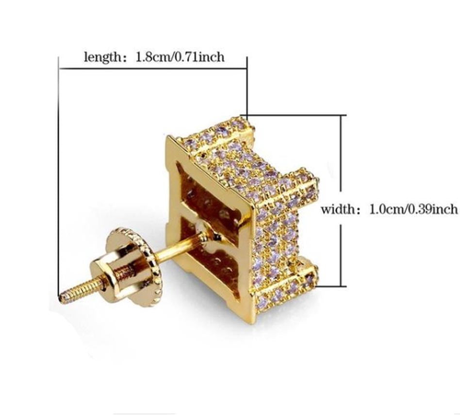 18K Gold Finish S925 Silver Iced Out Bling Square Earrings