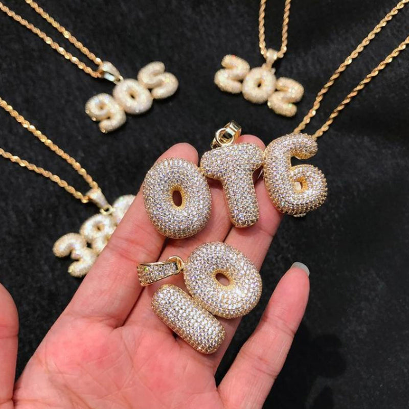 Iced Custom Bubble Letters 14K Gold Plated