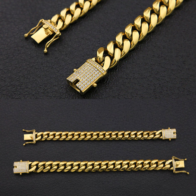 12mm/14mm Cuban Link Bracelet with Iced Clasp