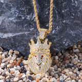18k Gold Finish S925 Silver Lion Red Eyes Pendant