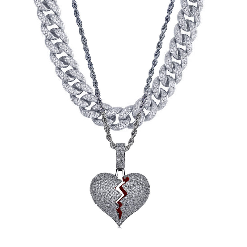 Combo Iced Out Cuban Bundle&Broken Heart Pendant