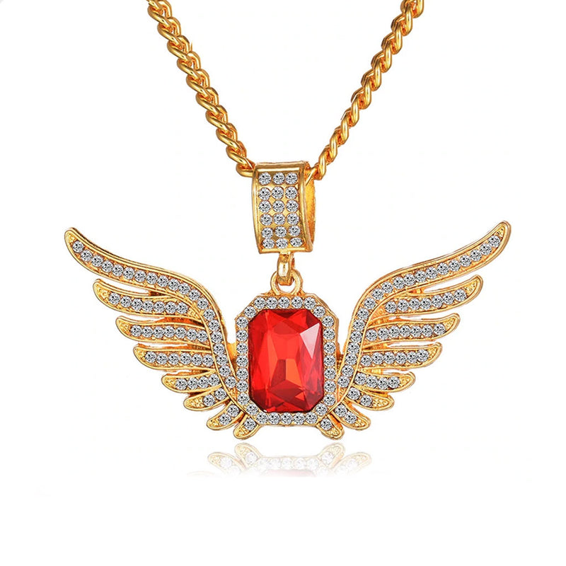 Iced Angle Wing Gem Pendant 14K Gold Plated