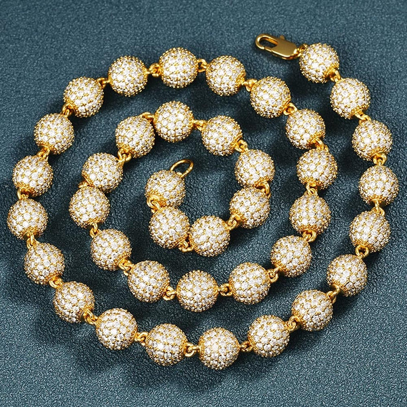10mm Bead Necklace Unisex 18K Gold