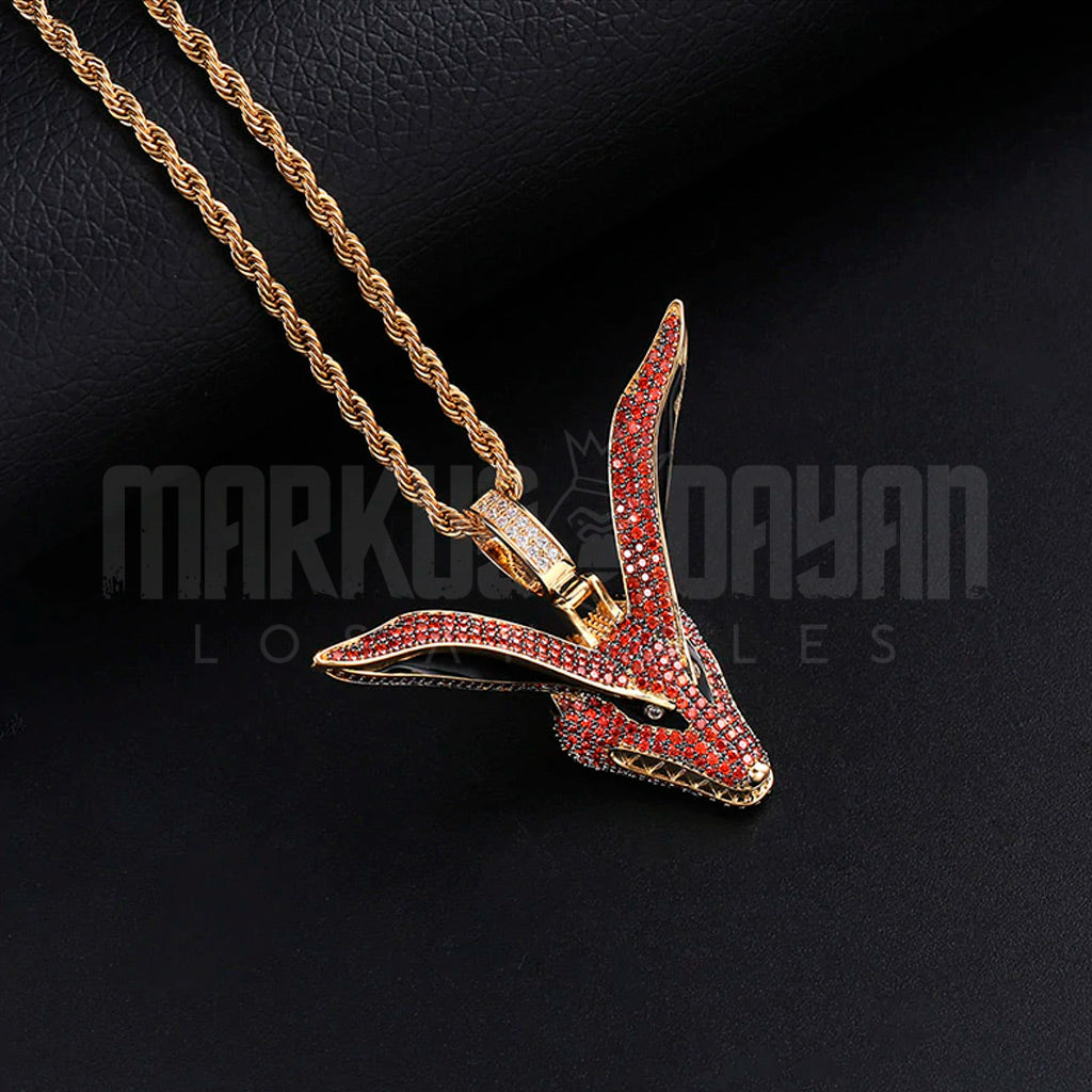 18K Gold Finish S925 Silver Kurama Fox Pendant