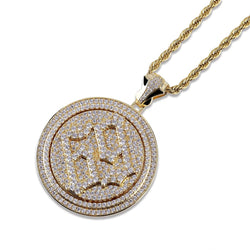 Iced Spinner 69 JigSaw Pendant 14K Gold Plated