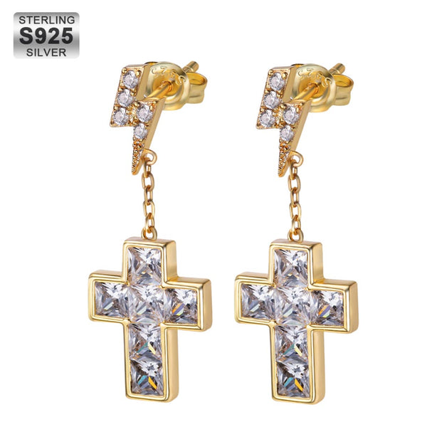 Cross Earrings with Lightning Stud in 925 Sterling Silver