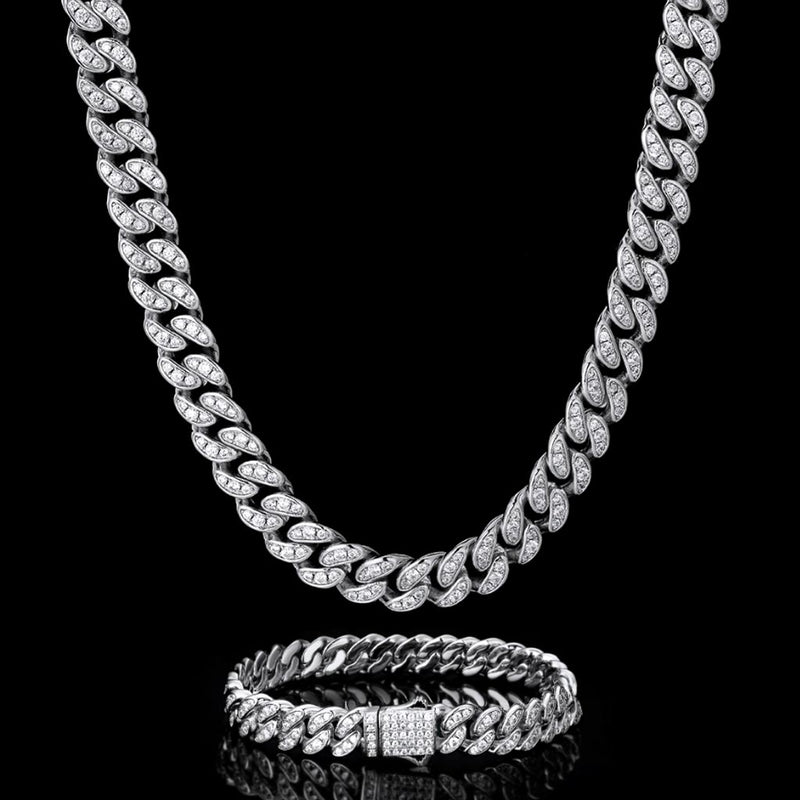 8mm Iced Cuban Link Chain and Bracelet Set