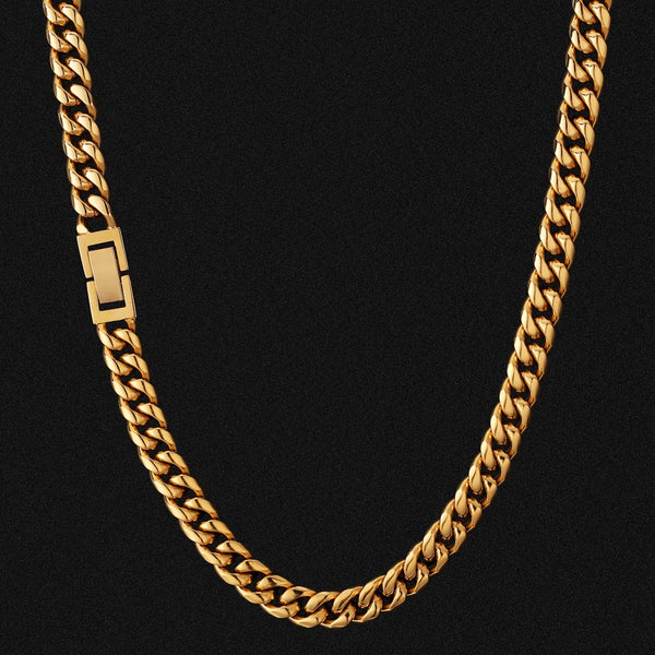 8mm Miami Cuban Link Chain Box Clasp 18K Gold Plated