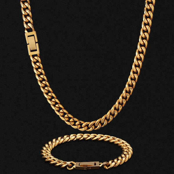 8mm Miami Cuban Link Chain and Bracelet Set Box Clasp 18K Gold Plated