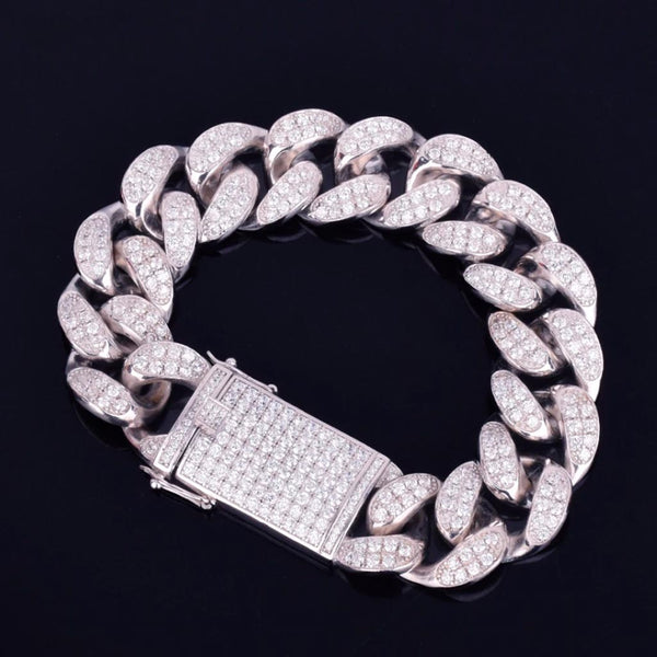 20mm S925 Real Sterling Silver Iced Out Cuban Bracelet