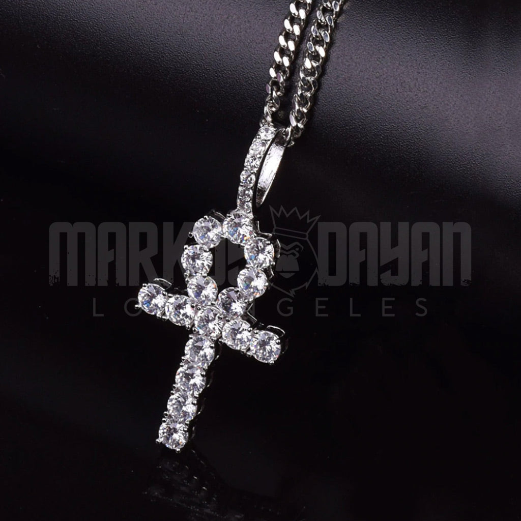 18K Gold Finish S925 Silver Iced Out Ankh Pendant