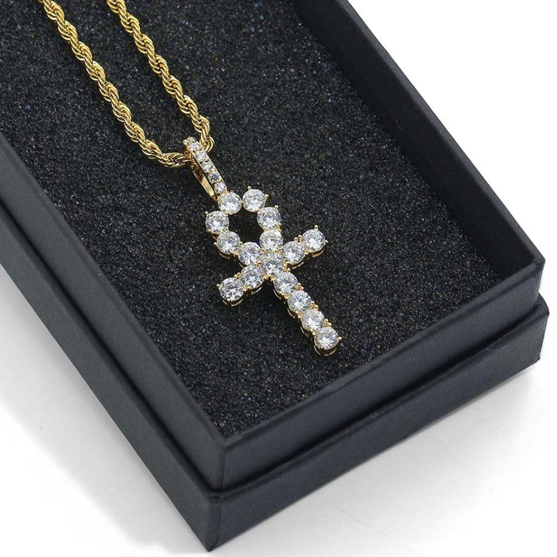 Iced Ankh Pendant 14K Gold Plated