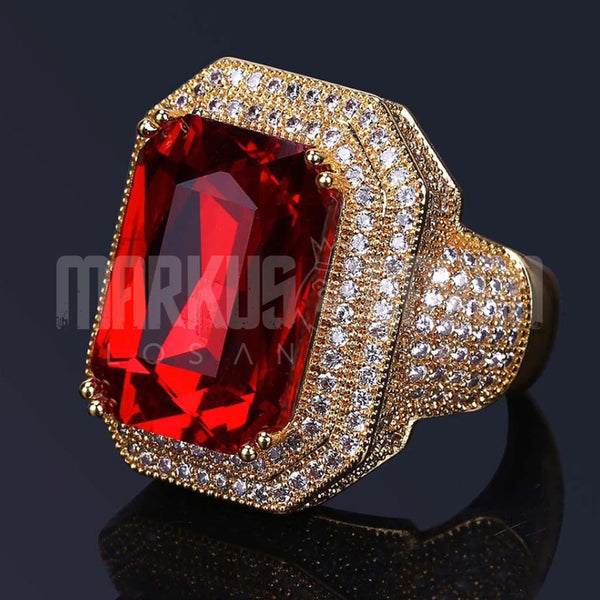 Diamond Big Ring Red CZ Gem Ruby