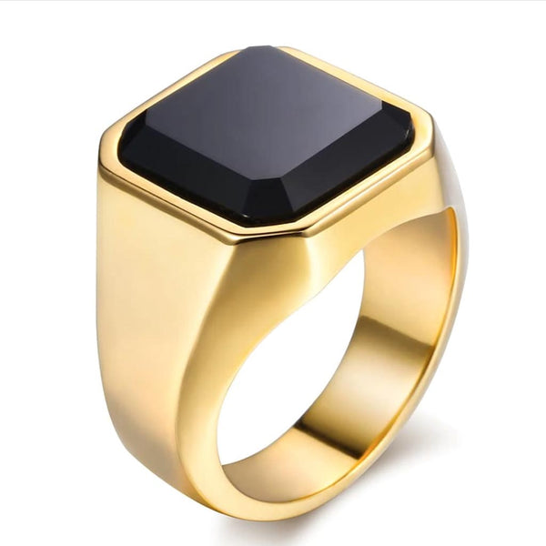 316L Stainless Steel Ring Black CZ Gold Hip Hop