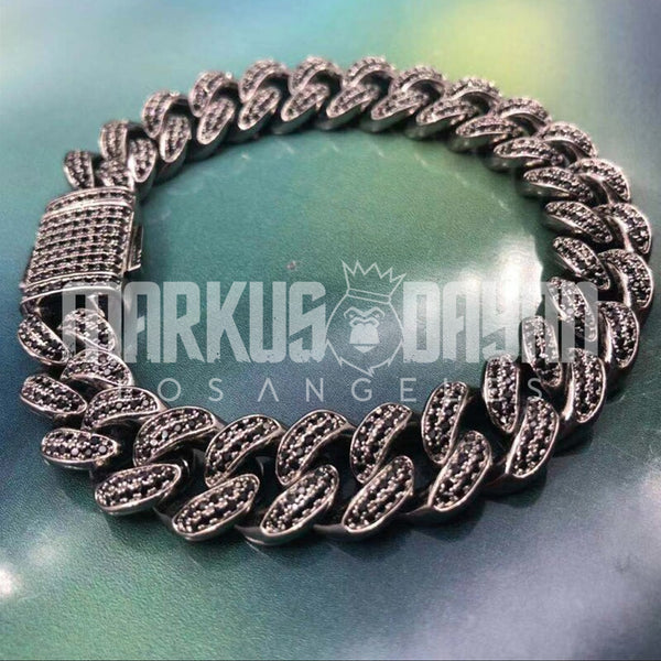 12mm Black Iced Miami Cuban Link Bracelet