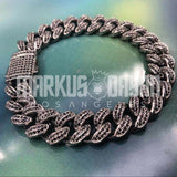 12mm Black Iced Out Miami Cuban Link Bracelet