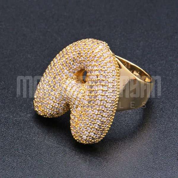 Iced Bubble Letter Ring 18K Gold Plated