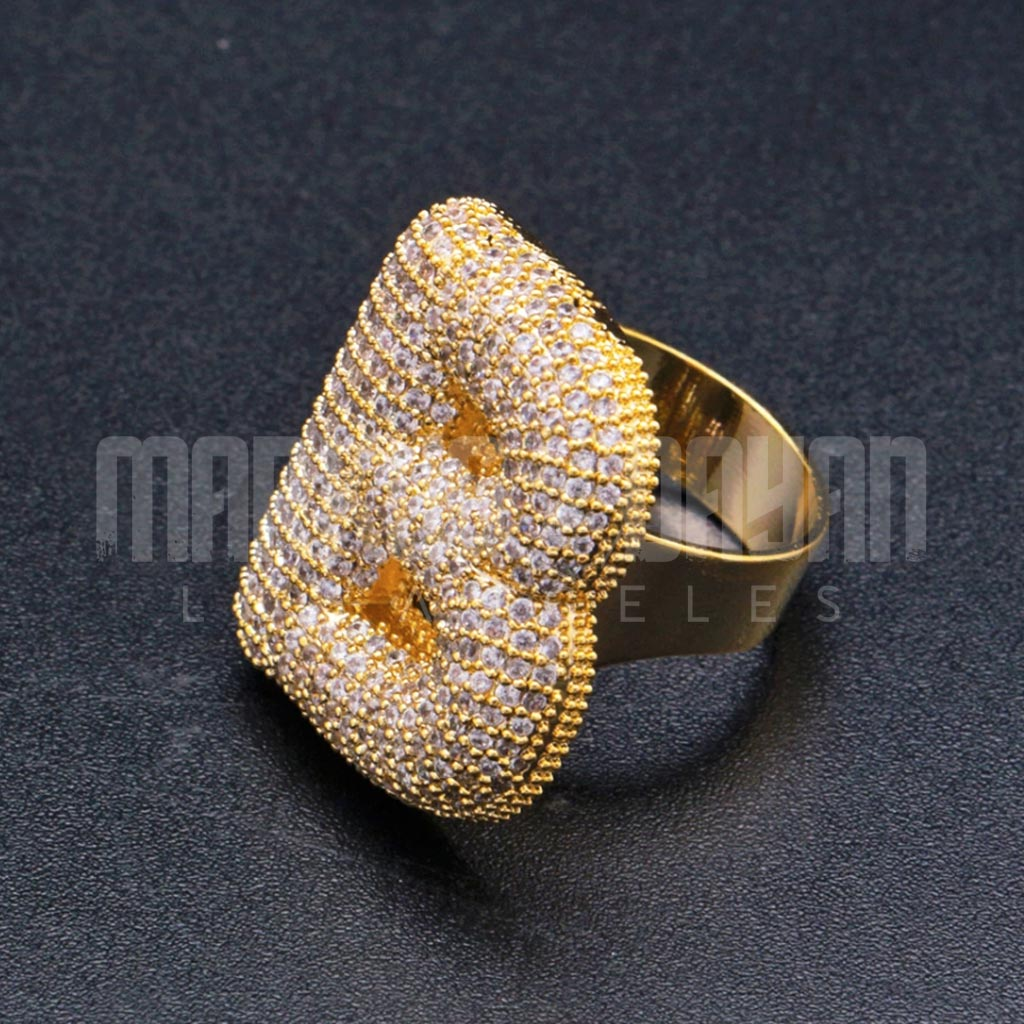 18k Gold Iced Bubble Letter Ring