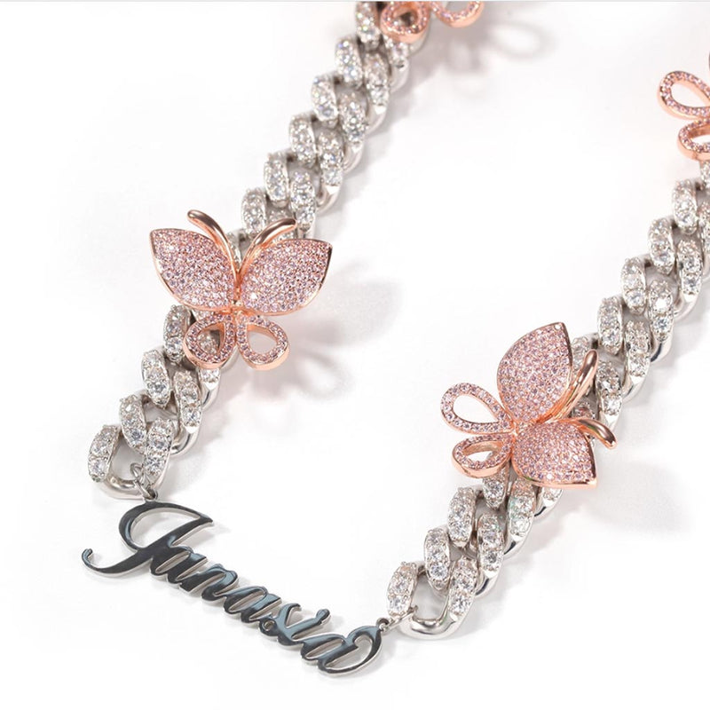 Iced Custom Butterfly Cuban Chain Name Personalized