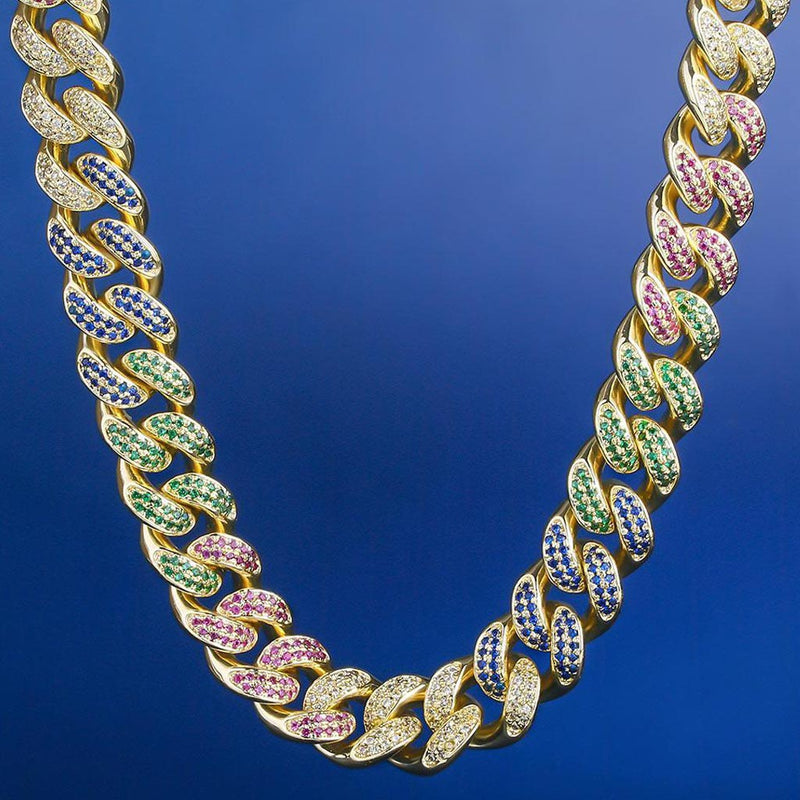 12mm Premium Iced Cuban Mixed Color Chain