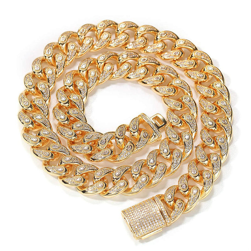16mm New Iced Cuban Miami Chain Tear Design 14K Gold