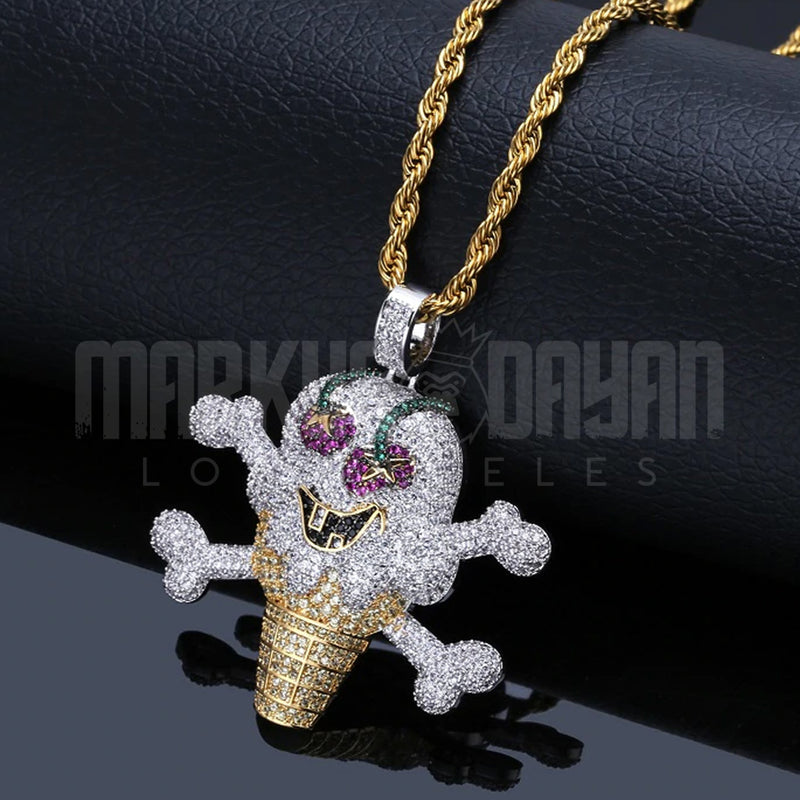 Iced Cherry Ice Cream Pendant 14K Gold Plated
