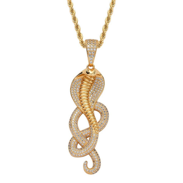 Iced Cobra Snake Pendant 14K Gold Plated
