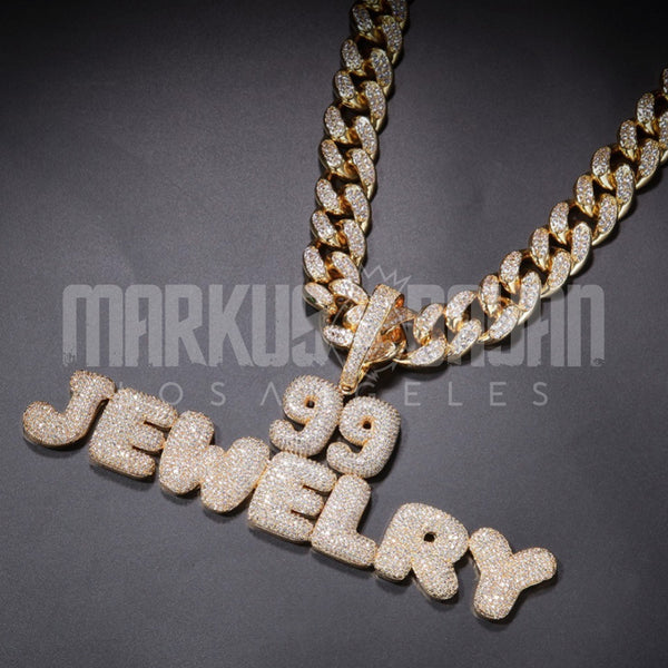 14K Gold 20mm Iced Cuban Custom Bubble Pendant