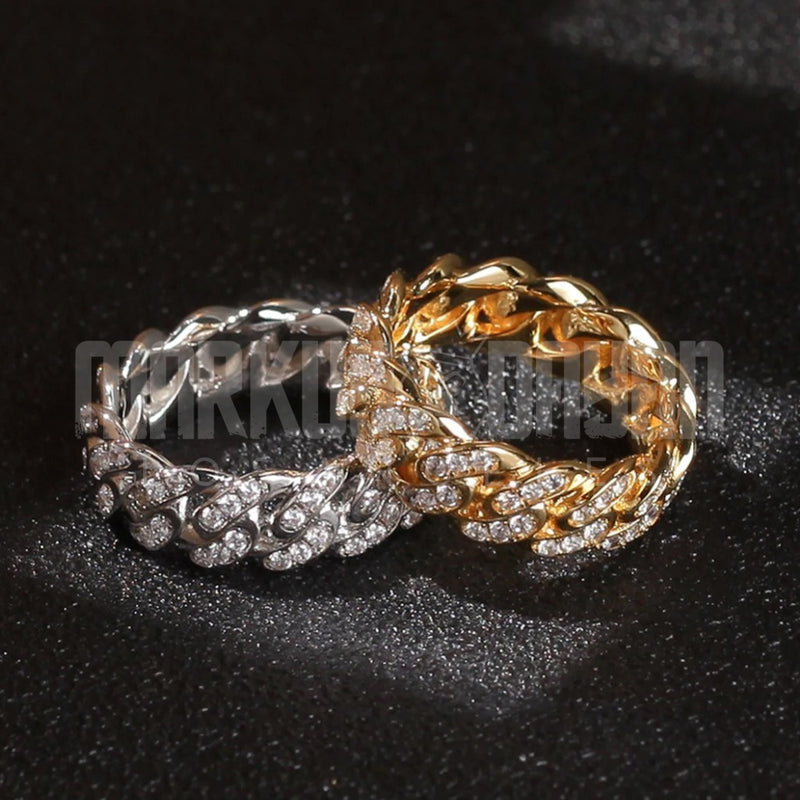 Diamond Iced Cuban Link Ring