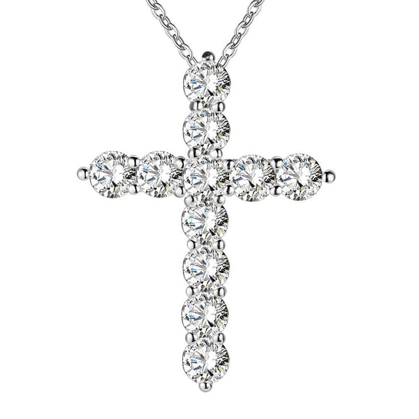 18K Gold Iced Cross Plated Pendant Necklace