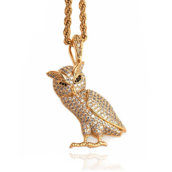 Iced Out Owl Pendant 14K Gold Plated