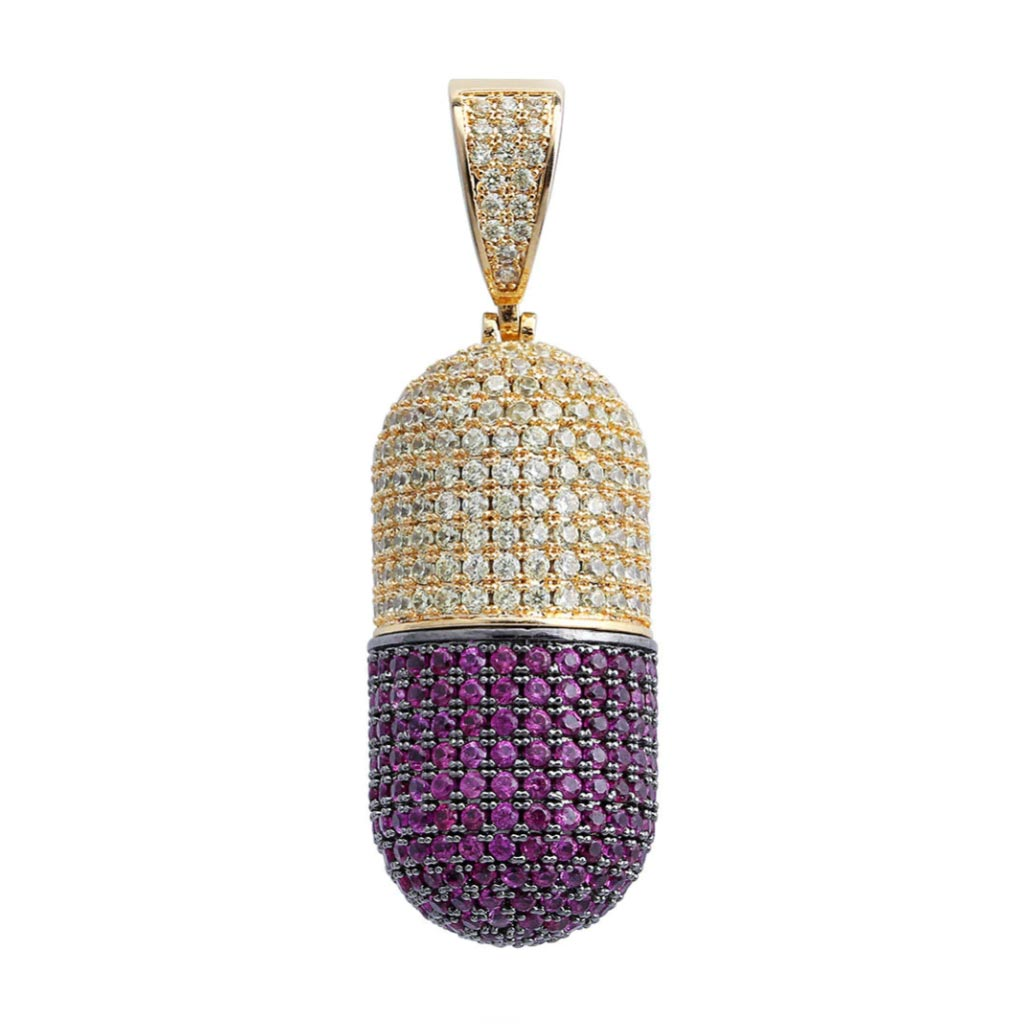 18K Gold Finish S925 Silver Detachable Pill Pendant