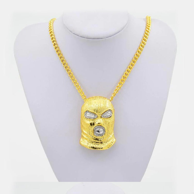 Iced Ski Mask Pendant 14K Gold Plated