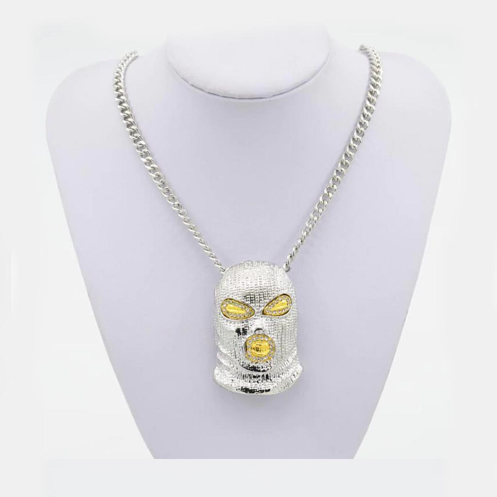 18K Gold Finish S925 Silver Ski Mask Pendant