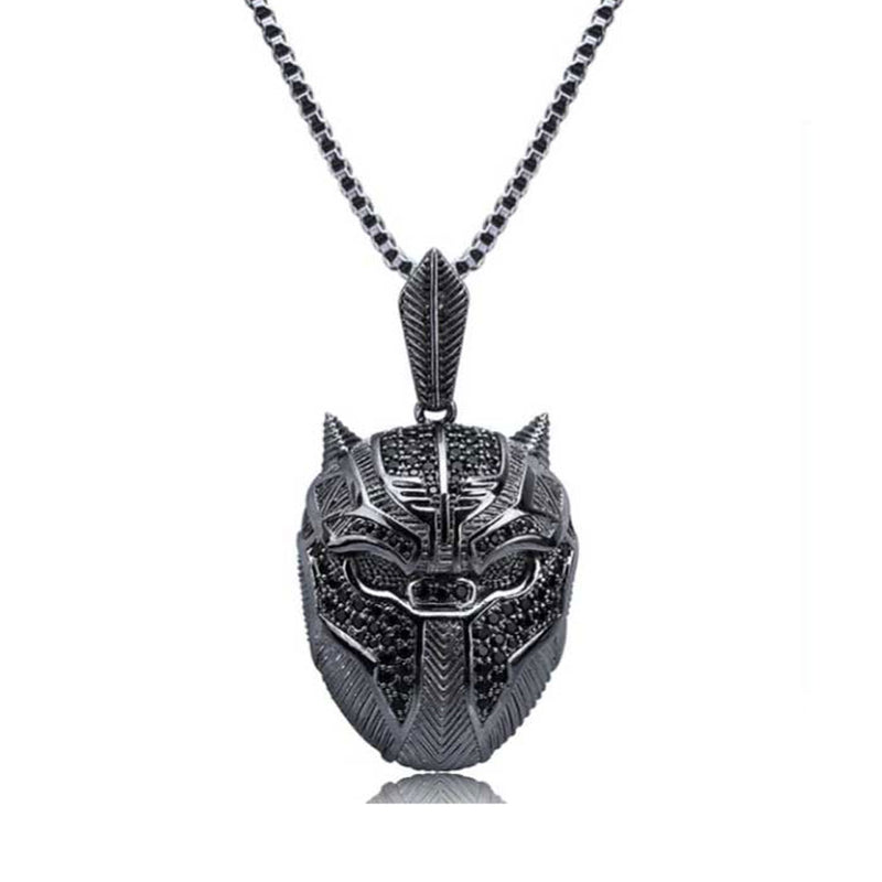 Iced Black Panther Mask Pendant