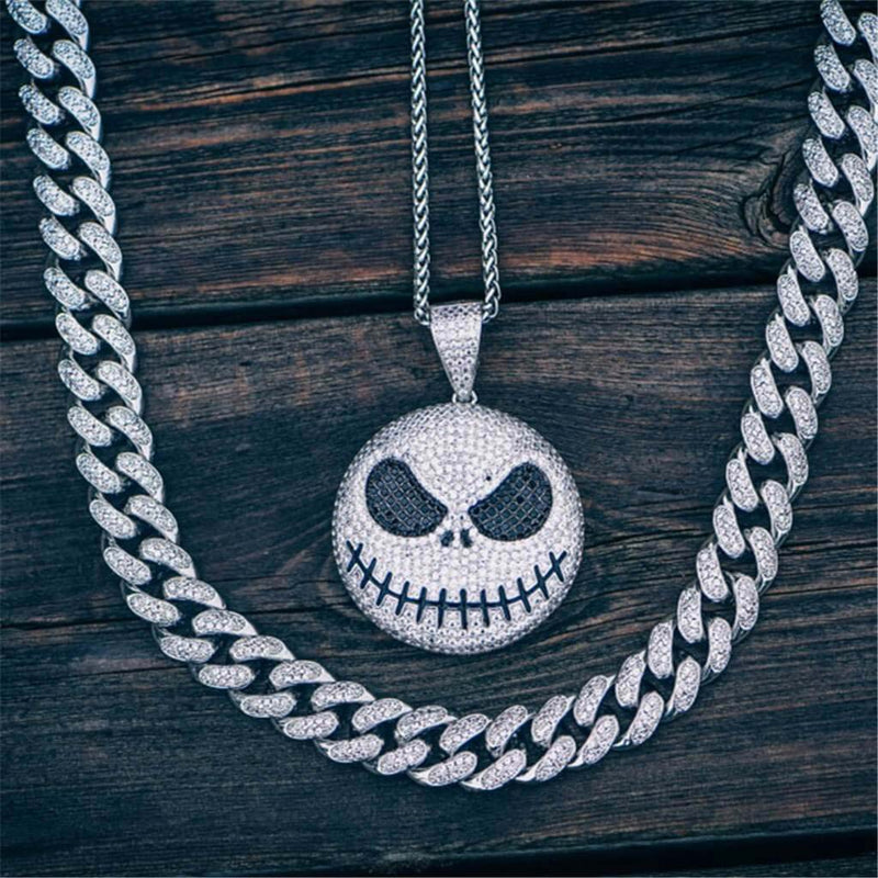 Iced Jack Skellington Pendant 14K Gold Plated