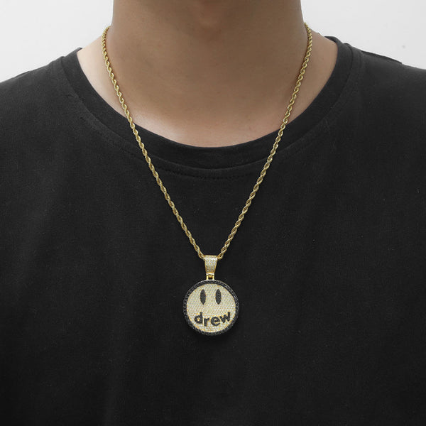Iced Smile Drew Necklace Pendant 18K Gold Plated