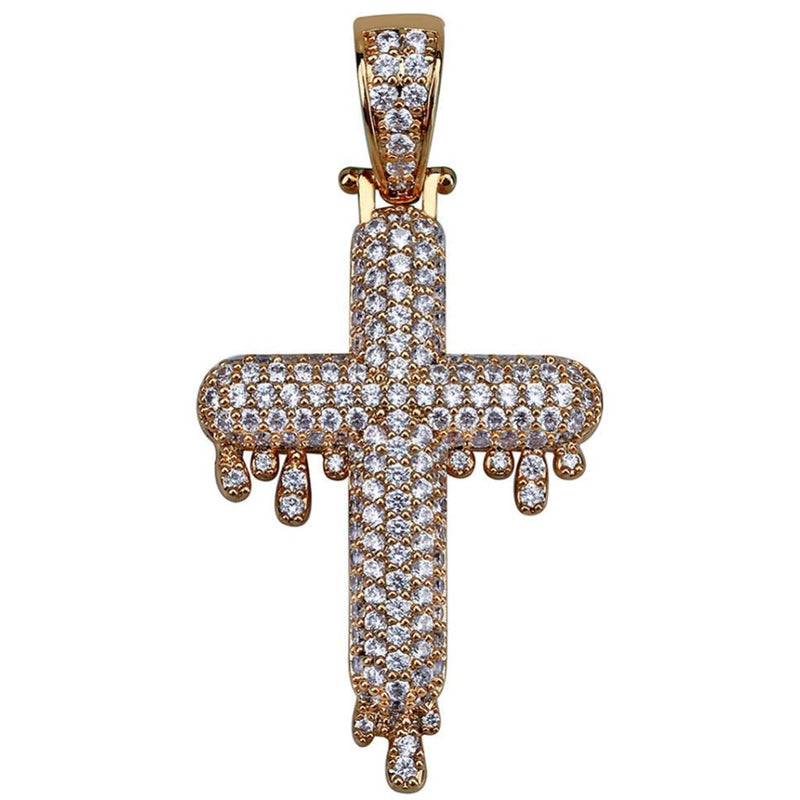 Iced Dripping Indian Cross 18K Gold Plated